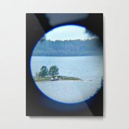 Through binoculars and cellphone Metal Print