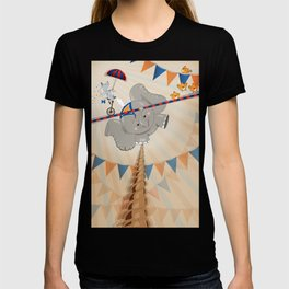 Elephant on tightrope T-shirt