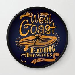 West Coast Beach Riding The Waves Wall Clock