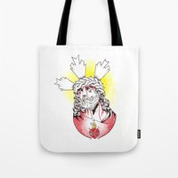 christ Tote Bags featuring Christ by Morgan Soto