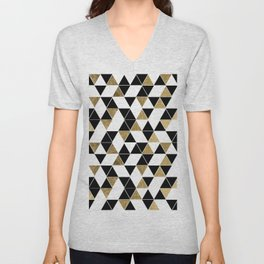Modern Black, White, and Faux Gold Triangles Unisex V-Neck