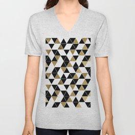 Modern Black, White, and Faux Gold Triangles Unisex V-Neck