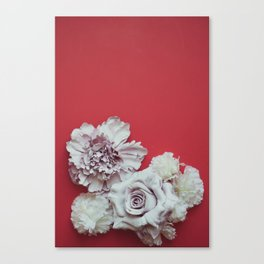 Pale Flowers on red Canvas Print