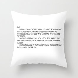 jersey shore anonymous note Throw Pillow