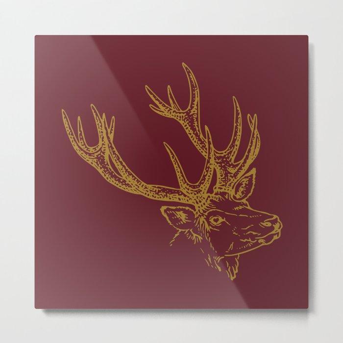 Deer Burgundy Gold Metal Print