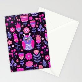 Midnight Pink Purple Owl Pattern Girls Animal Stationery Cards
