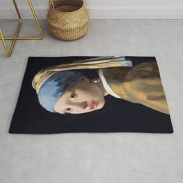 Girl with a Pearl Earring, classic painting Rug