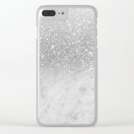White Marble Silver Ombre Glitter Glam #1 #shiny #gem #decor #art #society6 Clear iPhone Case