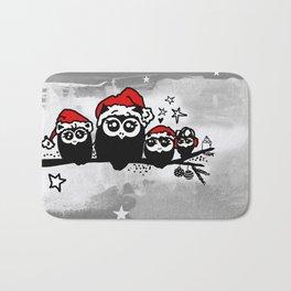 Cute Christmas Owl Family Bath Mat