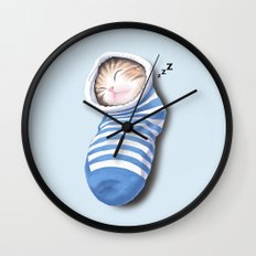 Cat in the Sock Wall Clock