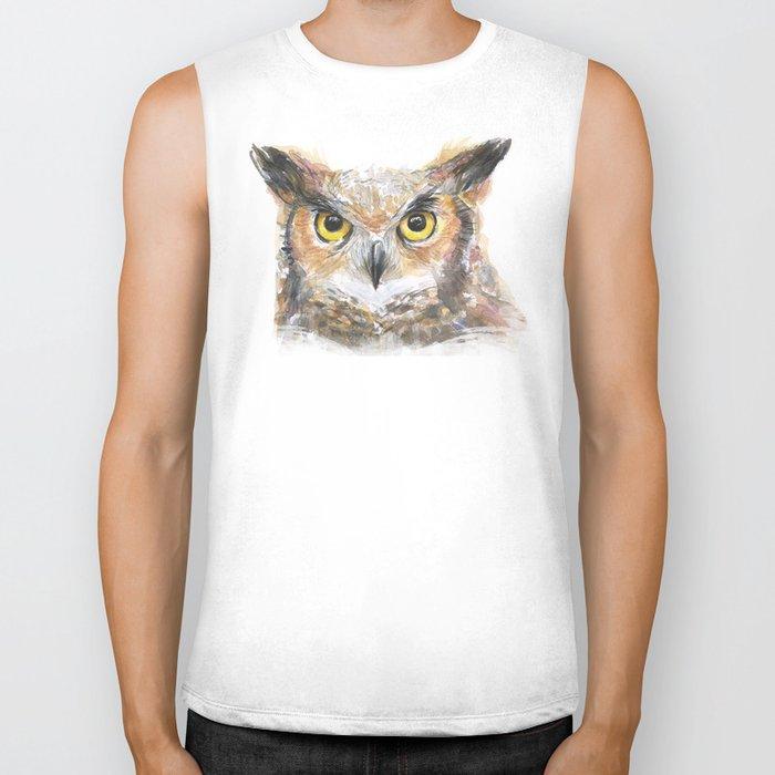 Great Horned Owl Watercolor Biker Tank