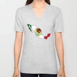 Mexico Map with Mexican Flag Unisex V-Neck