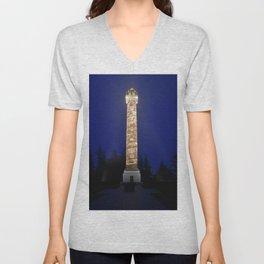 Astoria Column, blue hour fog Unisex V-Neck