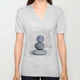 Zen cairn pebble stone balance grey Unisex V-Neck