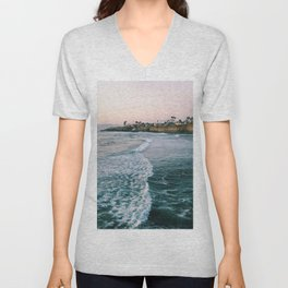 Cliffside Blue Ocean Wave Views  - Unisex V-Neck