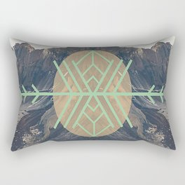 Mountains With Green Rectangular Pillow