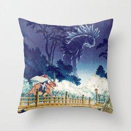 Ashitaka and the Forest Spirit Throw Pillow