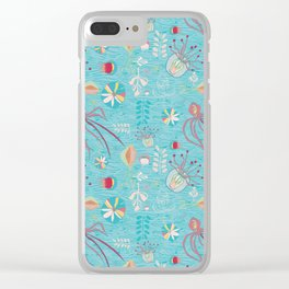 Sea Creatures Swimming in the Ocean Blue Clear iPhone Case