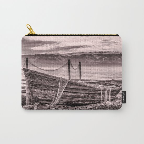 Old rusty boat with net (sepia) Carry-All Pouch