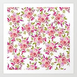 Elegant pink coral green watercolor roses pattern Art Print