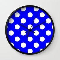 polka dots Wall Clocks featuring Polka Dots (White/Blue) by 10813 Apparel