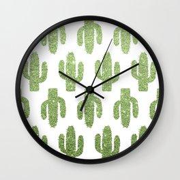 Glitter Cacti Wall Clock