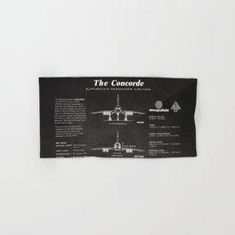 Concorde Supersonic Airliner Blueprint (black) Hand & Bath Towel