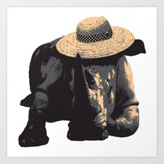 Rhino in Sun Hat Art Print
