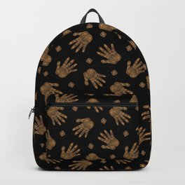 Spiral Hand Print - Gold and Black Backpack