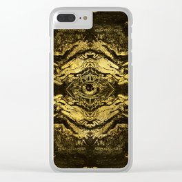 All Seeing eye golden texture on aged wood Clear iPhone Case