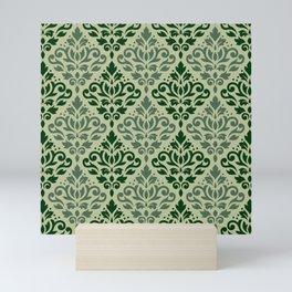 Scroll Damask Pattern Greens Mini Art Print