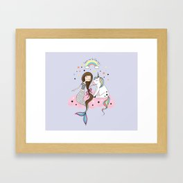 Mermaid & Unicorn Framed Art Print