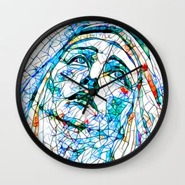 Glass stain mosaic 8 - Madonna, by Brian Vegas Wall Clock