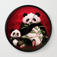 pandas Wall Clocks featuring Pandas by J ō v