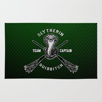 quidditch Area & Throw Rugs featuring Slytherin quidditch team iPhone 4 4s 5 5c, ipod, ipad, pillow case, tshirt and mugs by Three Second