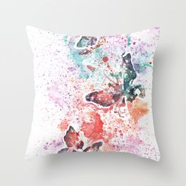 Butterflies Watercolor Painting Throw Pillow