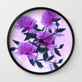 Lavender Floral Love Abstract Wall Clock