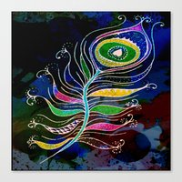 peacock feather Canvas Prints featuring Peacock Feather by SwanniePhotoArt
