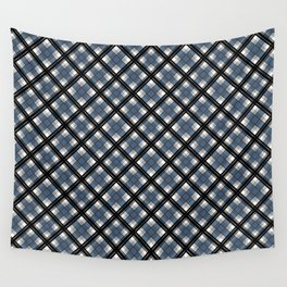 Black and blue tartan Wall Tapestry