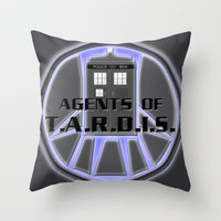 agents of shield Throw Pillows featuring Agents of TARDIS Doctor Who Agents of Shield Mash Up by Whimsy and Nonsense