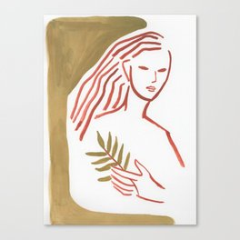 Leaves in hand (minimal portrait lady) Canvas Print