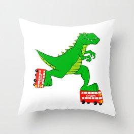 dinosaur riding roller skates. Throw Pillow
