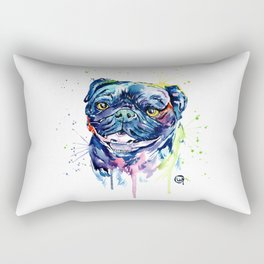 Pug Watercolor Pet Portrait Painting Rectangular Pillow