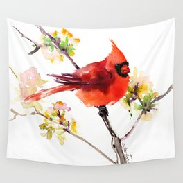 Cardinal Bird in Spring Wall Tapestry