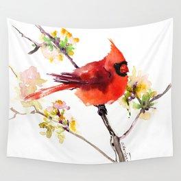 Cardinal Bird in Spring Wall Tapestry