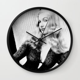 Mischievous Veronica Lake, Hollywood Starlet, black and white photograph / black and white photography Wall Clock
