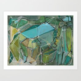 Fracturing Emeralds Art Print