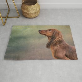 Dog breed long haired dachshund portrait oil painting Rug