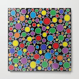 Colored Bubbles Black   Metal Print