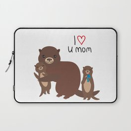 I Love You Mom. Funny brown kids otters with fish on white background. Gift card for Mothers Day. Laptop Sleeve
